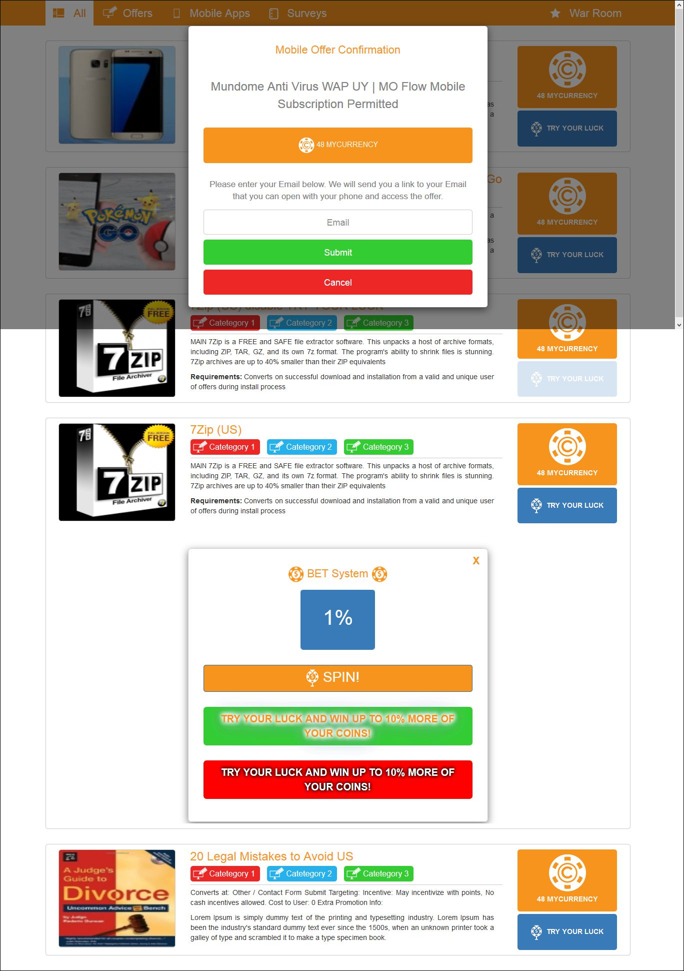 PSD to html5 offer page with tab menus